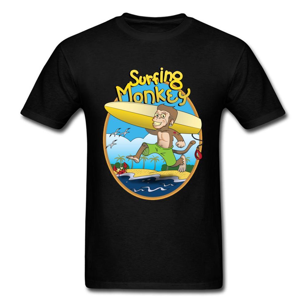 Wit Maymun Yuvarlak Yaka T Shirt Komik Karikatür Tişörtlü Kısa Kollu Büyük İndirim% 100 Pamuk Hediye Tee Gömlek Boş Erkekler Tops