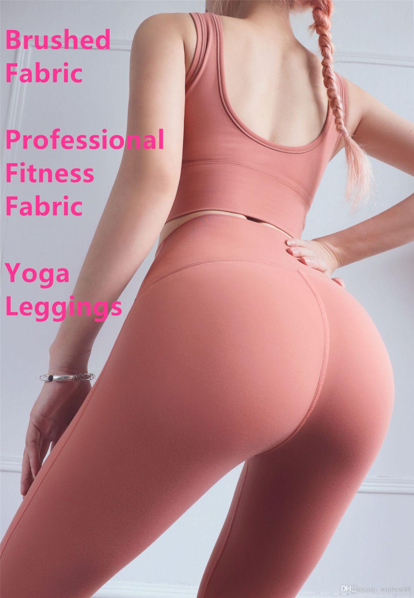 Femmes Double Side Brossé Fibre Yoga professionnel Leggings jogging Designer Sport Femmes Pantalons Fitness Double Side sablée de 5colors fibre