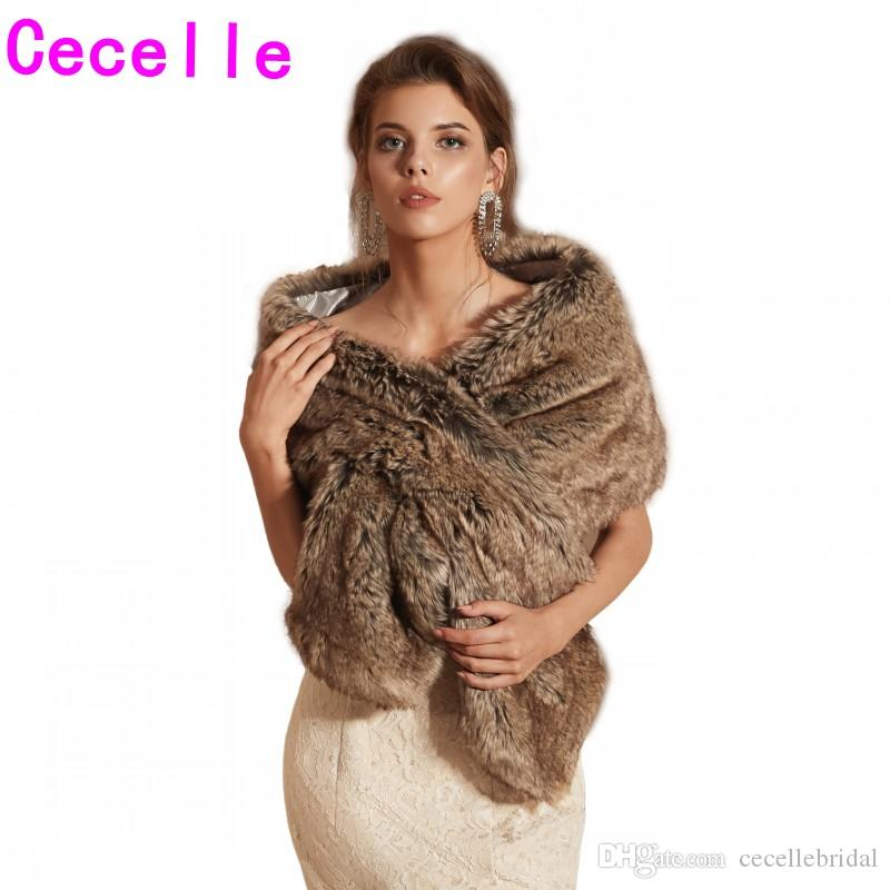 2019 New High Quality Brown Long Winter Faux Fur Bridal Wraps Jackets For Wedding Faux Fur shawl For Winter Wedding Women Warm scarf