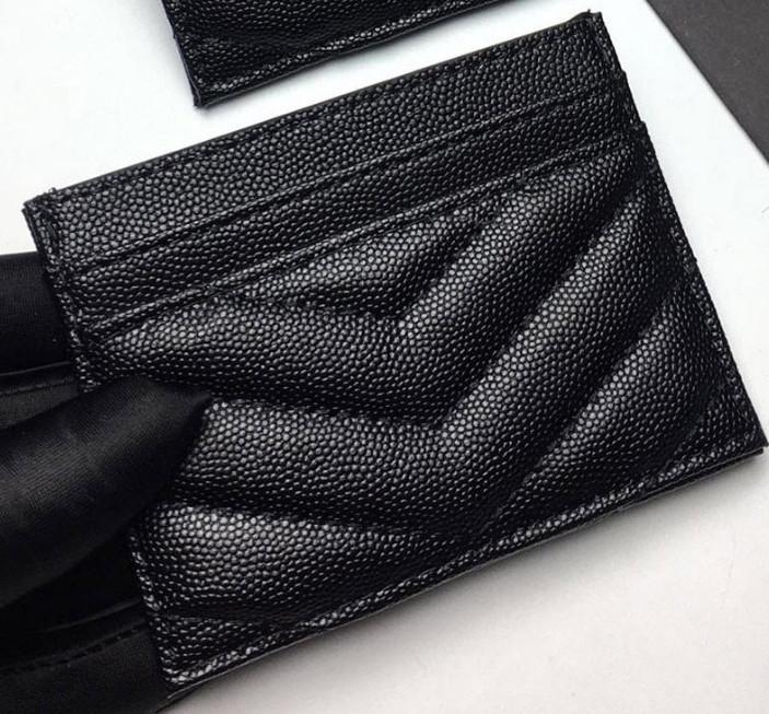 2020 حاملي بطاقة جديدة أزياء المرأة الكافيار مصغرة محفظة مصمم لون نقي جلد طبيعي الحصاة الملمس فاخرة محفظة أسود مع صندوق