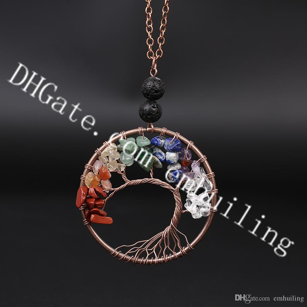 10Pcs Lucky Family Tree of Life Copper Wire Wrapped 7 Chakra Birthstone Protection Amulet Healing Stone Pendant Necklace w/ Lava Rock Beads