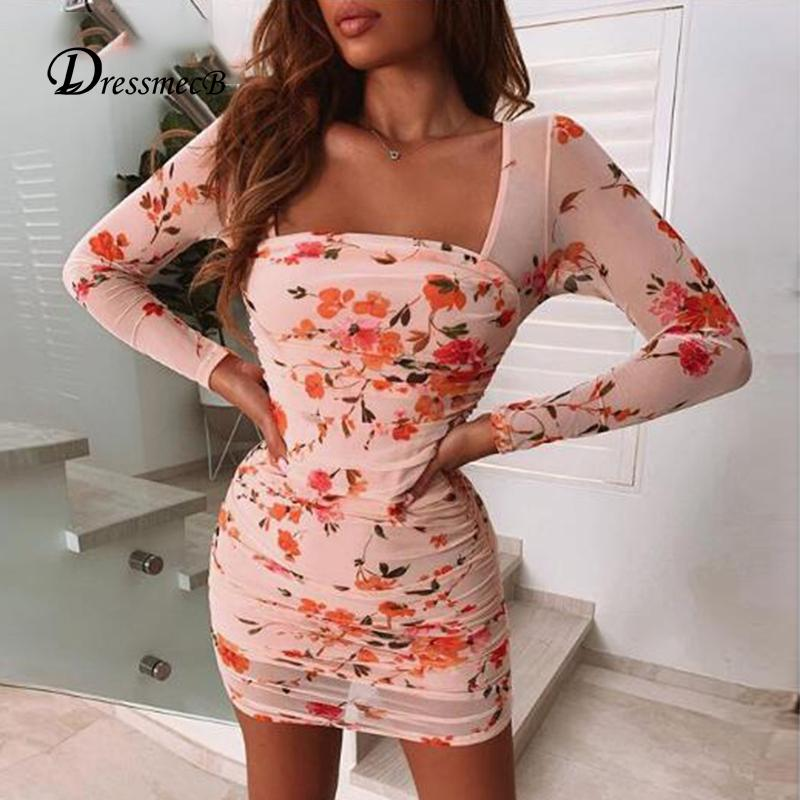 Dressmecb Floral Doppel Layed Mesh-Kleid Frauen-Quadrat-Kragen-lange Hülse Bodycon reizvolle elegante Minikleid Femal Verband