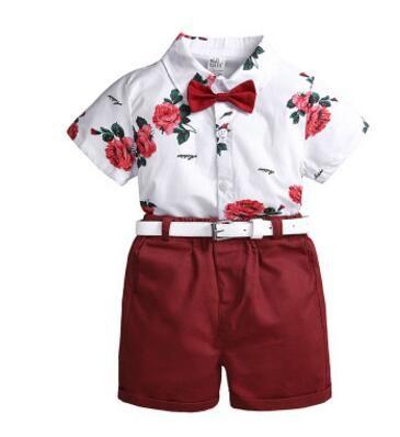Baby Boys Gentleman Sets Flower Kids Clothing 2019 Ragazzi estivi T-shirt a maniche corte floreale + Pantaloncini + Cintura Bambini 3 pezzi / set
