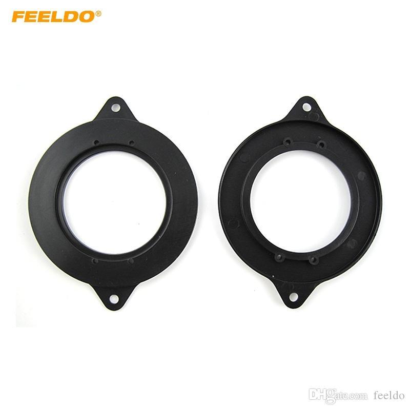 FEELDO 2pcs schwarzes Auto Auto-Lautsprecher Verbreiterungen Mat Adapter für AUDI A6 Mediant Spacer Pads Refitting Montage-Kits # 6021