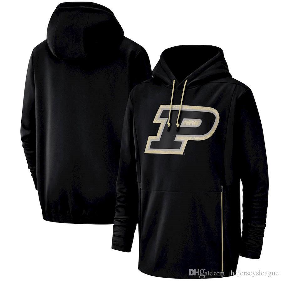 2019 новых мужчин Purdue Boilermakers Толстовка Салют для обслуживания Sideline Therma Performance NCAA Черный пуловер с капюшоном