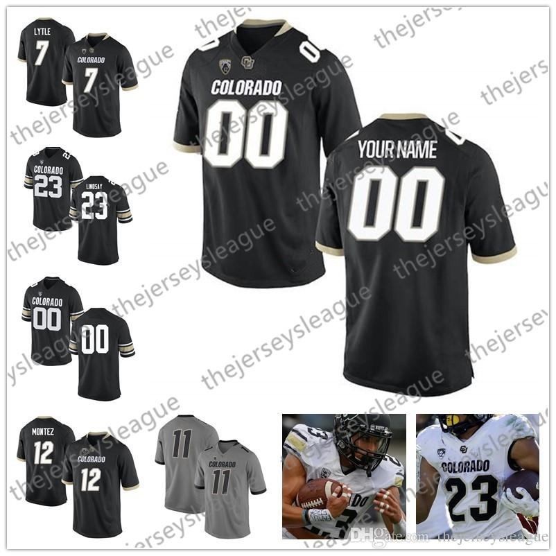 Custom Colorado Buffaloes Any Name Number Stitched Black Gray White NCAA College Football Jerseys #3 K.D. Nixon 18 Tony Brown