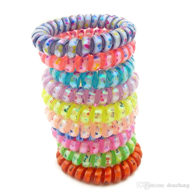 Lots 100Pcs Random Colors Size 5CM Bowknot Hair Bands Elastic Bow Print Telephone Wire Hair Ties Plastic Rope Hair Accessory