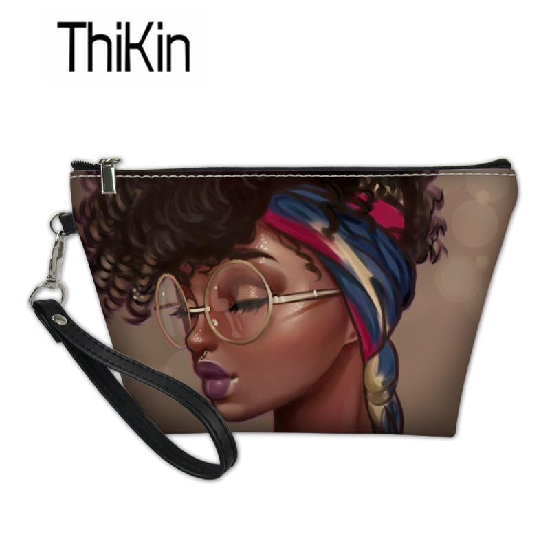 حالات THIKIN سفر منظم مستحضرات التجميل للمرأة الأسود الطباعة فتاة الفن الأفريقي المكياج حقائب السيدات غسل كيت حقيبة الإناث بولسا