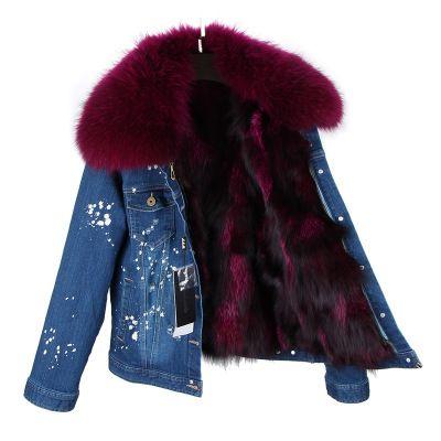 Fourrure de renard veste en jean bleu foncé amovible pour manteau pour femme pois blancs col en vraie fourrure de raton laveur