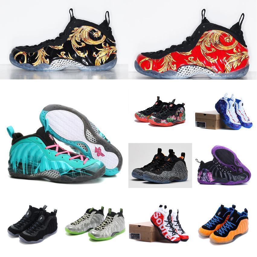 저렴한 새로운 남성 페니 하더웨이 Posite 농구 신발 위장 실버 꽃 블랙 레드 골드 청소년 아이들이 상자 하나 운동화 테니스 거품이 인다