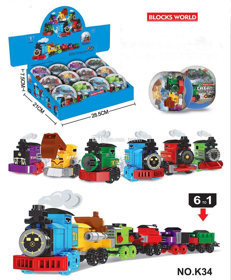6 기차 빌딩 블록 세계 플라스틱 팅커 상자 비 자동차 장난감 키즈 장난감 어린이 교육 지능 안전 환경