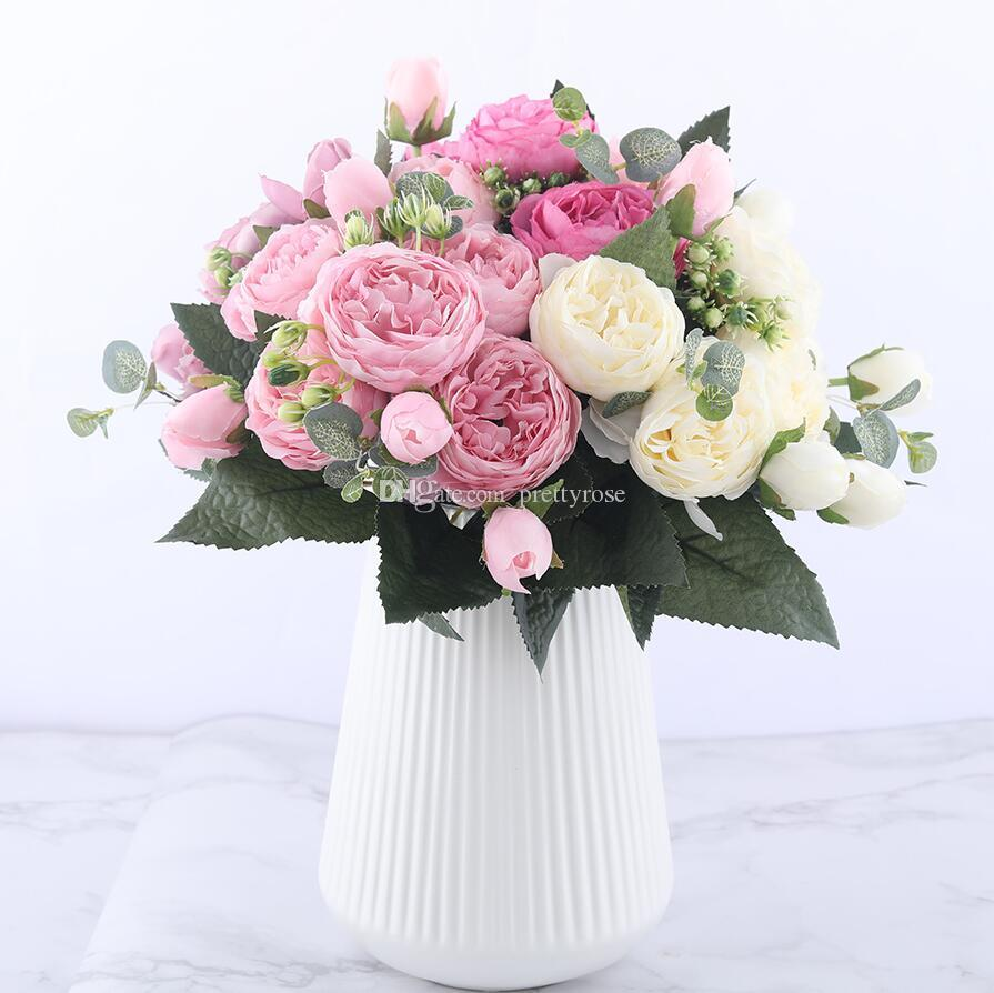 30 سنتيمتر روز الوردي الحرير الفاوانيا الاصطناعي زهور باقة 5 رأس كبير و 4 برعم الزهور وهمية للمنزل الزفاف الديكور داخلي القابضة الزهور