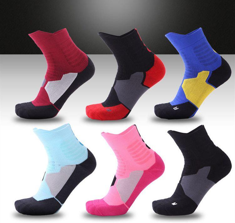 Tube mi bas d'élite de basket-ball pour les hommes épaissies chaussettes élite de sport professionnel respirant fond serviette mâle