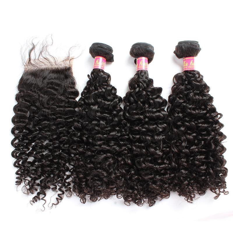 Bella Hair® Hair Bundles with Closure Brazilian Virgin Curly Human Hair Weaves Natural Color Extensions julienchina