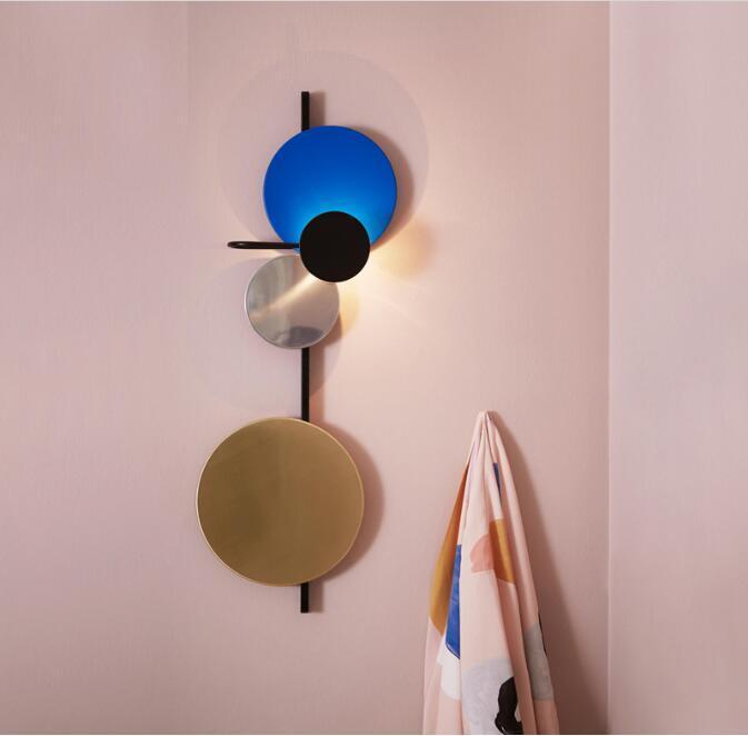 İskandinav Loft Çok renkli metal Yuvarlak Çember Led Duvar Lambası Sanat DIY Stil Planet Led Duvar çörekler Otel Başucu Decro İç Aydınlatma
