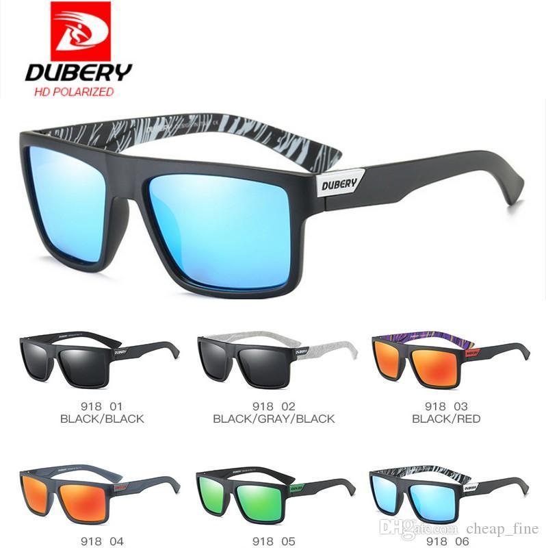 DUBERY Entwurf polarisierte Sonnenbrille-Mann-Fahrer-Schatten-männliche Weinlese-Sonnenbrille für Männer Spuare bunter Sommer 918 freies Verschiffen