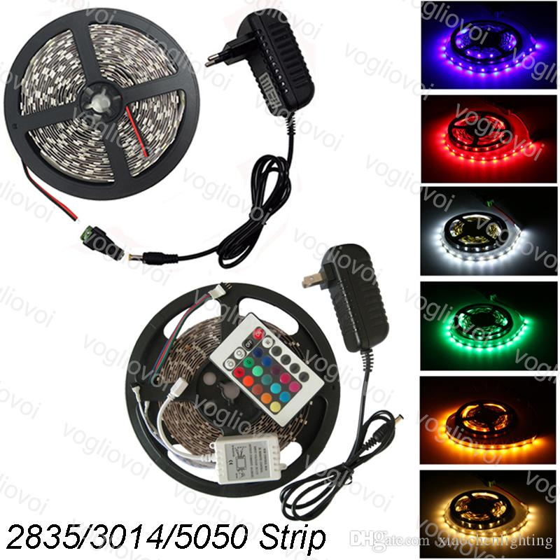Led Strip Light 5M SMD2835 3014 5050 300LED DC12V Waterproof Multicolor 24keys AC100-240V Adapter HDTV TV Desktop Screen Background EUB