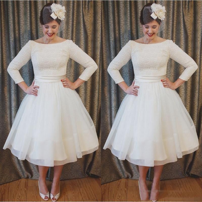 2020 A-Line Tulle Dentelle Robes De Mariée À Manches Longues Millésime Vintage avec bow dos Robes de mariée de mariage d'été
