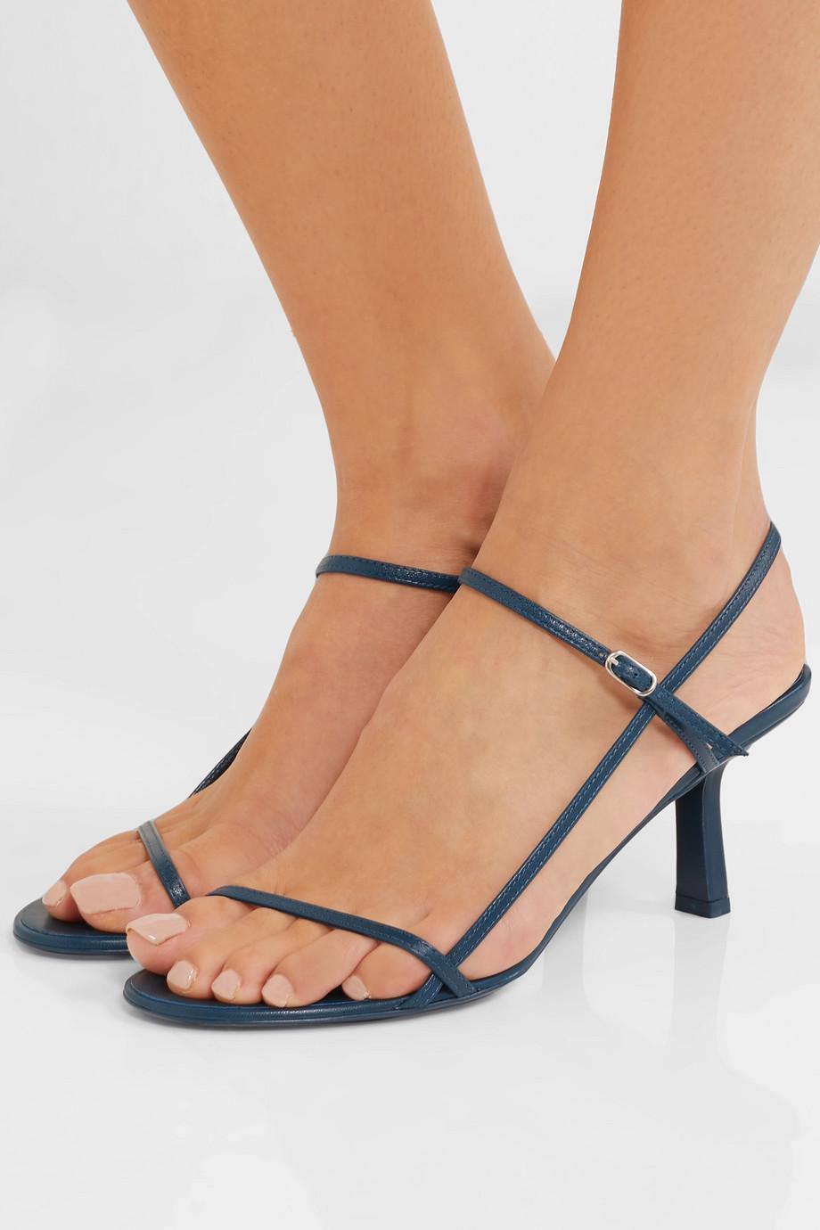 Women designer sandals Summer Bare leather sandals slender straps 100% Sheep soft leather 65mm elegant High Heels Dress shoes Party shoes