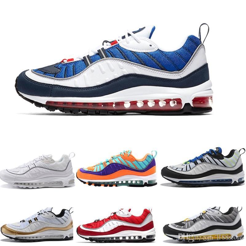 Nike Air max Airmax 98 2020 Erkek Artı TN Üçlü Siyah beyaz Kırmızı sarı atletik koşu Ayakkabı Sneakers chaussure spor Eğitmenler 40-46