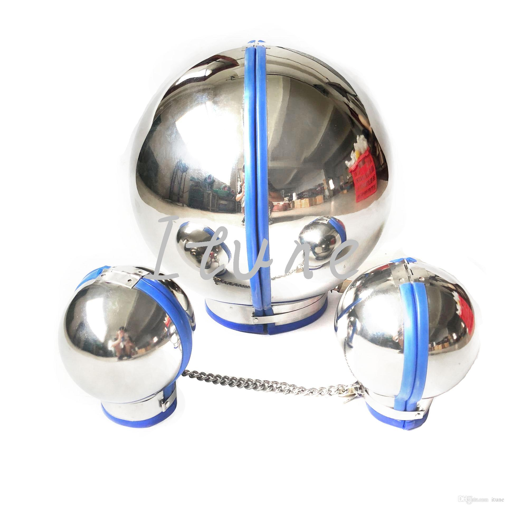 3pcs/lot/set Unisex Stainless Steel Dog Slave Ball Headgear Head Cover Handcuffs Wrist Restraint Bondage BDSM Adult Sex Toy for Male Female