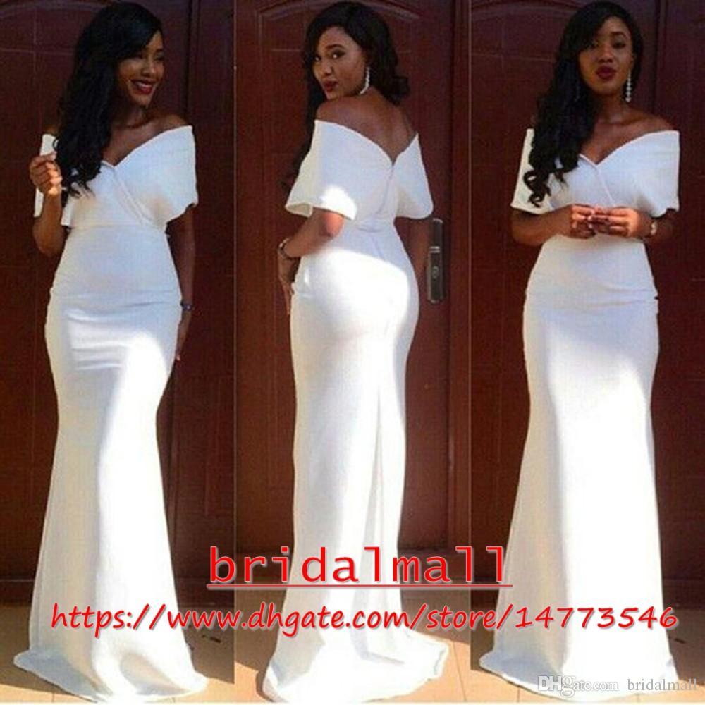 Elegant 2019 vita aso ebi kvällsklänningar sjöjungfru keps ärmar golv längd lång prom klänning kväll slitage plus storlek formella klänningar dragkedja tillbaka