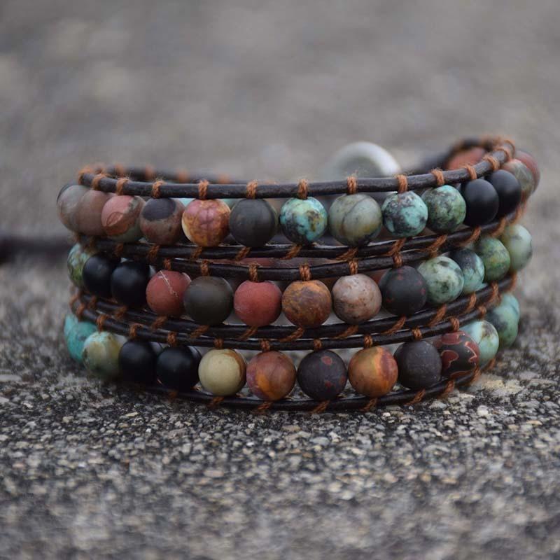 Vintage Leather Bracelets Matte Stone 3 Strands Wrap Bracelets Boho Bracelet Handmade Jewelry for Men Women Best Friend Gifts