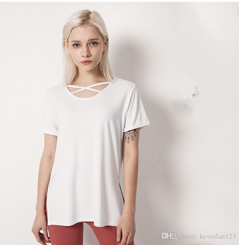 bat camicia sport professionistico fitness Lu articoli di moda Yoga dea moda semplice progettazione colletto tondo è traspirante e facile a svanire 190.503