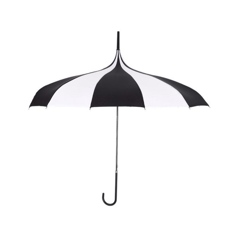 Blanco y negro paraguas de la lluvia de las mujeres grande grande de mango largo gótica clásica prueba de viento de la torre de la pagoda del estilo de Entrega Rápida
