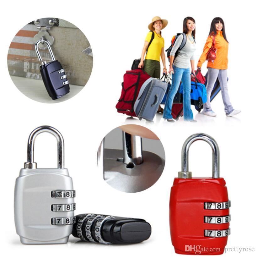 3 Dial Digit Senha combinação cadeado mala de bagagem Código metal Bloqueio Mini Coded Keyed Anti-Theft Locks liga de zinco 8 cores DHL