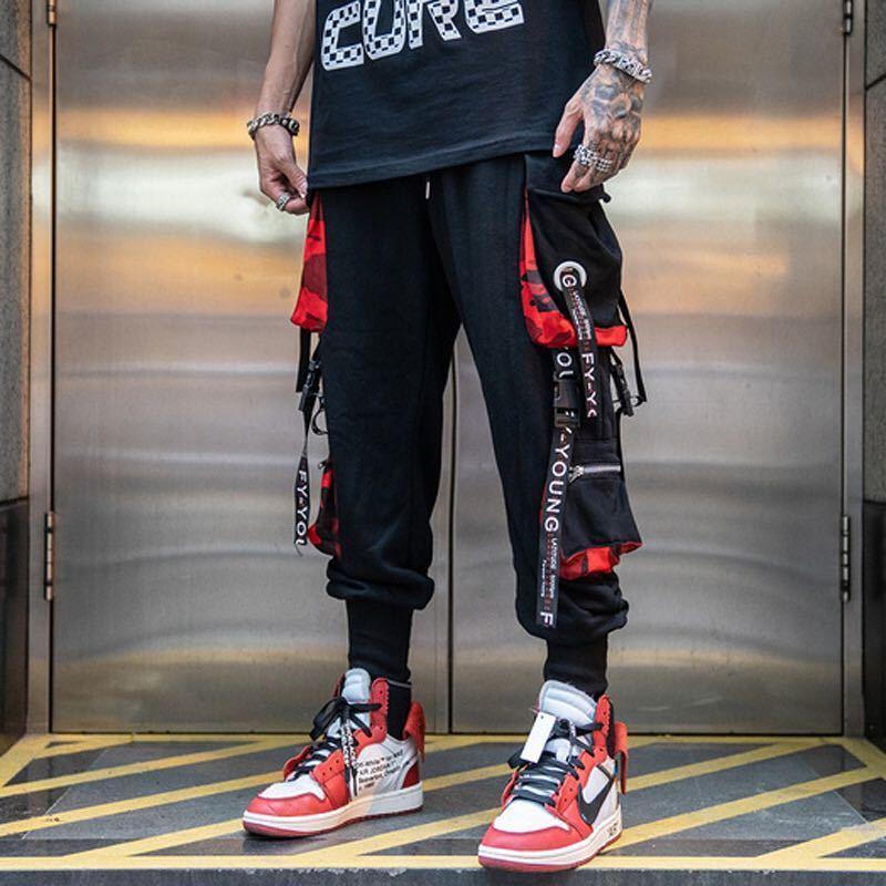 Calças homens Hip Hop Preto Carga corredores Sweatpants Macacões Homens Fitas Streetwear Harem Pants as formas das mulheres Calças T200615