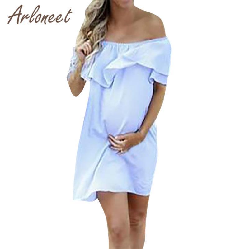 ARLONEET Roupa Mulheres Maternidade vestido solto Alças Vestido de Verão Summer Fashion Ladies Gravidez roupas vestido Casual