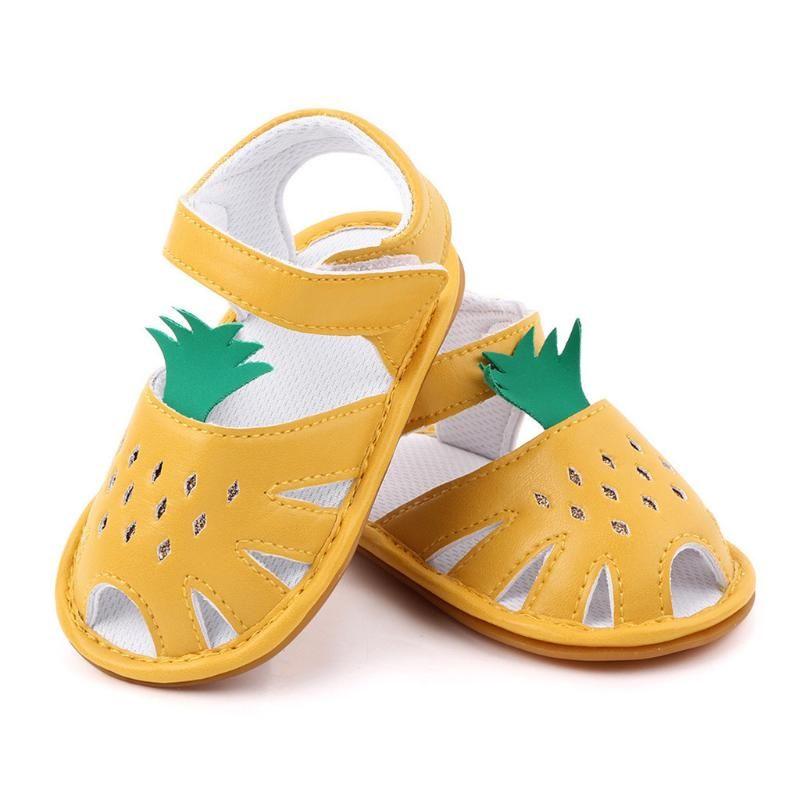 Criança Criança Bebés Meninas Princesa Sandals Abacaxi bonito em forma de criança Primeira Caminhada do verão Macio crianças infantil Praia Verão Shoes