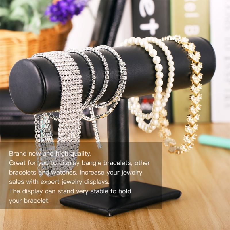 Velvet Portable / PU pulseira de couro Colar Bangle exibição Stand Holder Assista Jóias Organizer T-Bar rack 2020