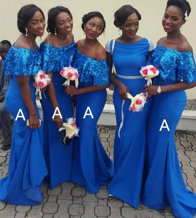 African Royal Blue Mermaid Bridesmaid Dresses Short Sleeves Sequins Off Shoulder Satin Maid Of The Honor Dress Formal Dress Party Gowns