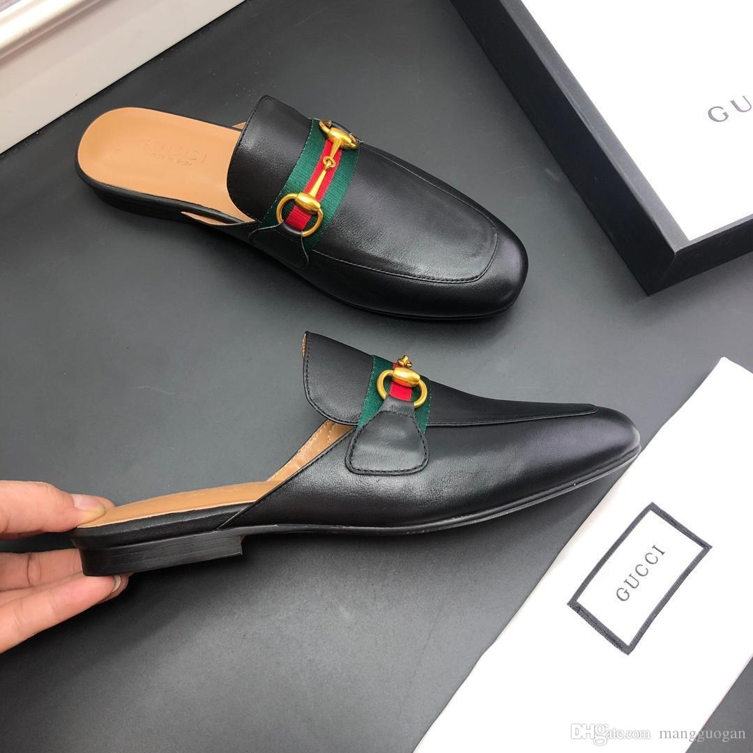 cuir mocassins Muller pantoufle chaussures hommes de luxedesigne avec boucle Mode Hommes Princetown de Ladies Casual Mulets Flats 35-45 U01
