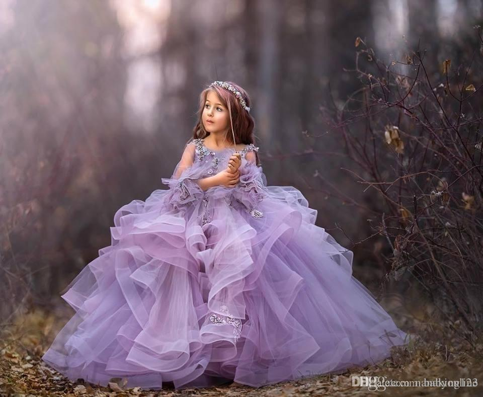 Elegant Lavender Ball Gown Girls Pageant Dresses Cute Appliques Beads Spaghetti Strap Ruffles Tulle Tiered Skirt Long Formal Dress For Teens