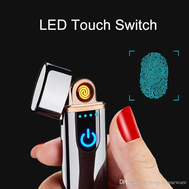Wholesale USB Rechargeable Lighters Electronic Cigarette Lighter Flameless Touch Screen Switch Colorful Windproof Lighter BC BH0638