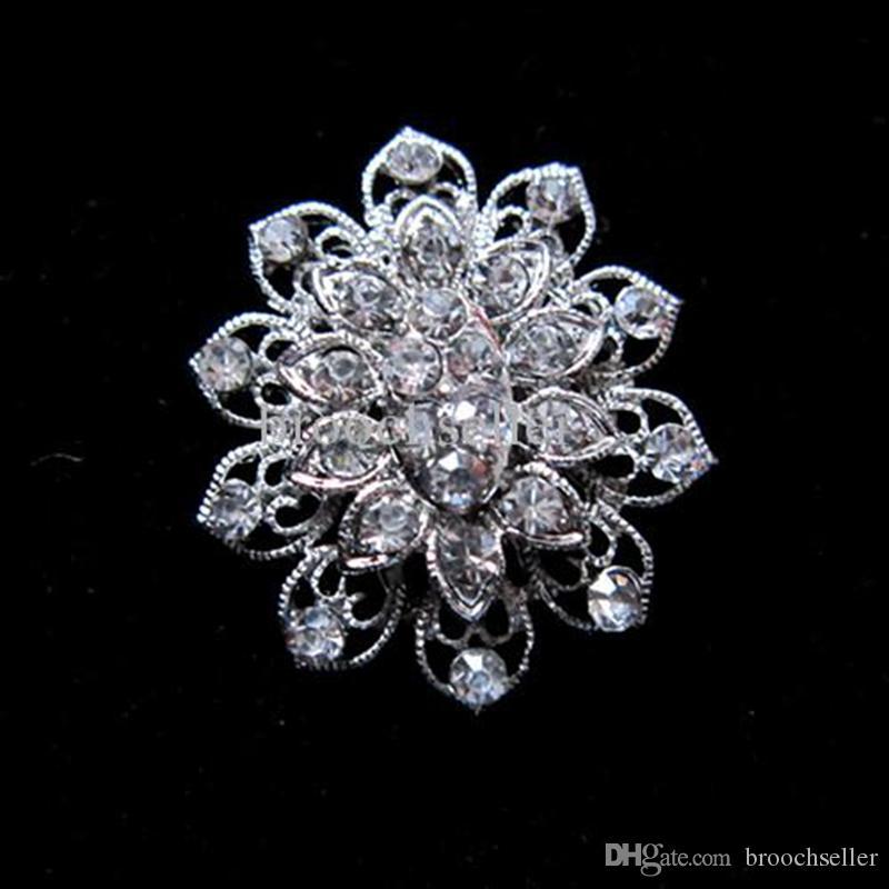 "1.4 ""Verzilverd Rhinestone Crystal Small Flower Design Pin Broche"