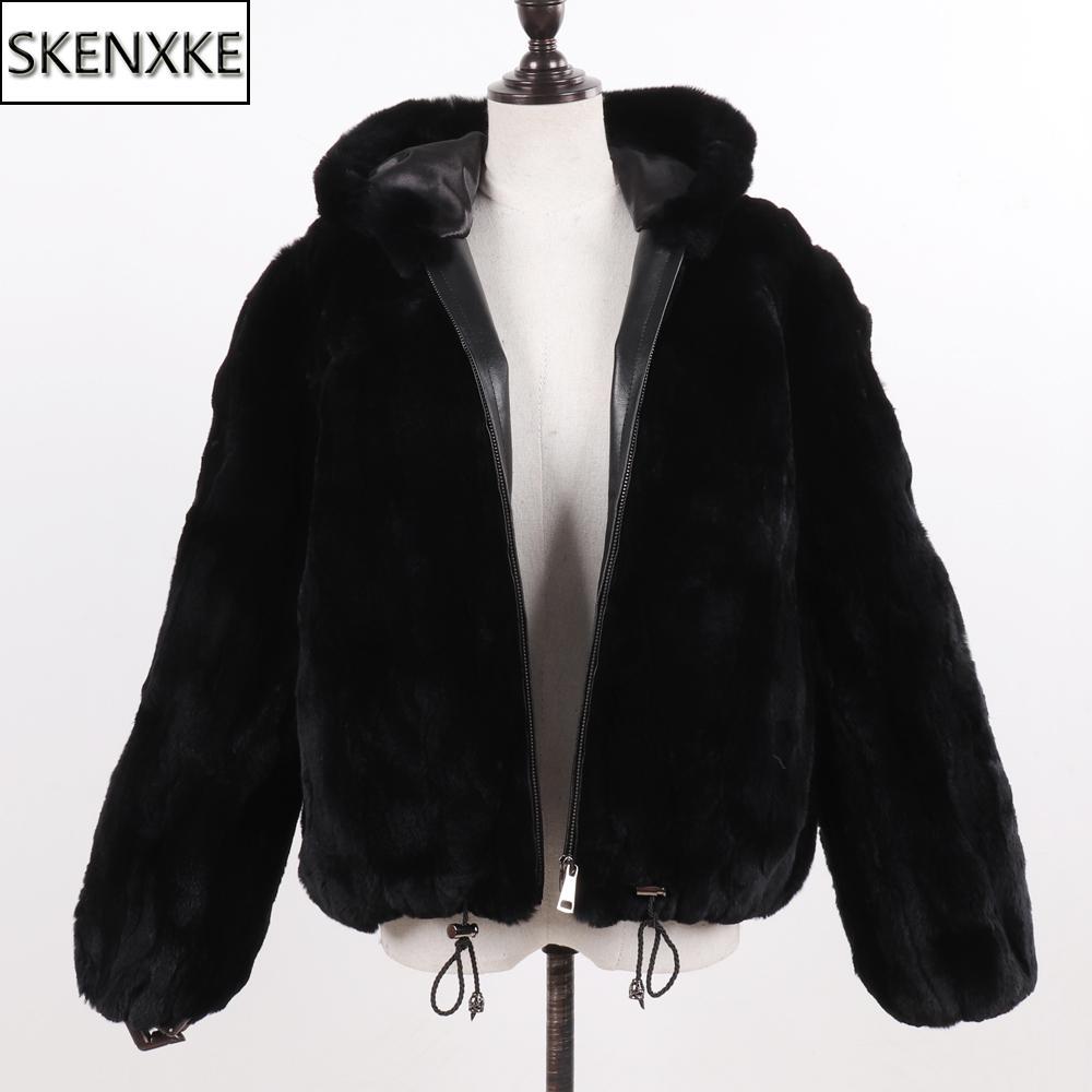 Yeni Kadın% 100 Doğal Rex Tavşan Kürk Kapşonlu Palto Kış Rus Lady Sıcak Gerçek Rex Tavşan Kürk Ceket Sıcak Hakiki Kürk Palto MX191207