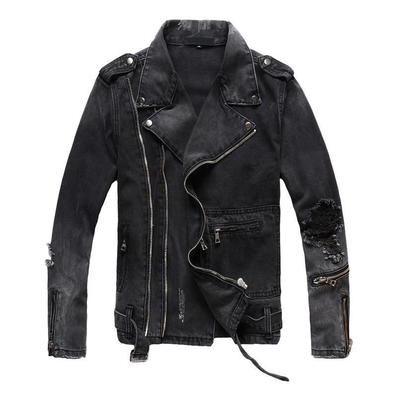 Il nuovo modo Hi Via Mens denim strappati giacche con Multi Cerniere Streetwear Distressed Motociclista Jeans Jacket T200102