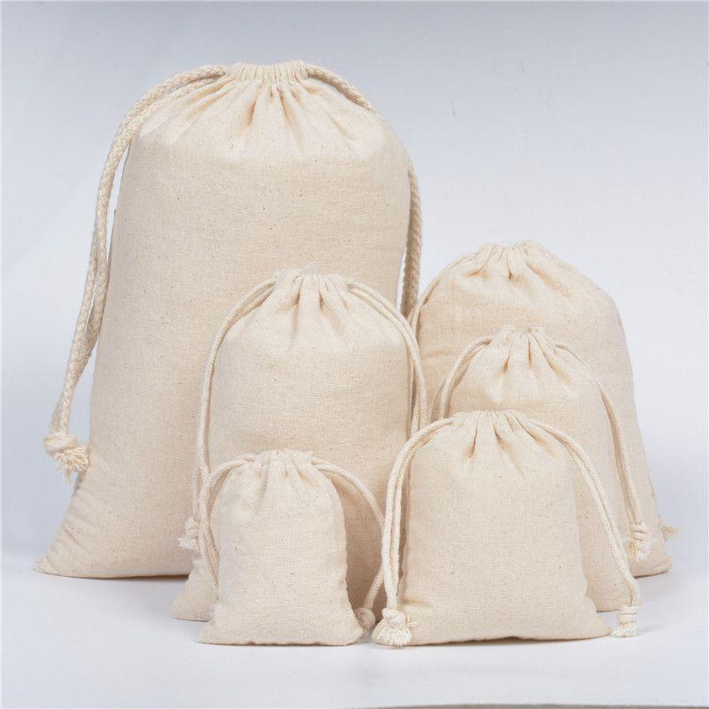 Großhandel Leinwand Kordelzug Beutel Schmuck Taschen 100% natürliche Baumwolle Wäsche Favor Halter Art und Weise Schmucksache-Beutel