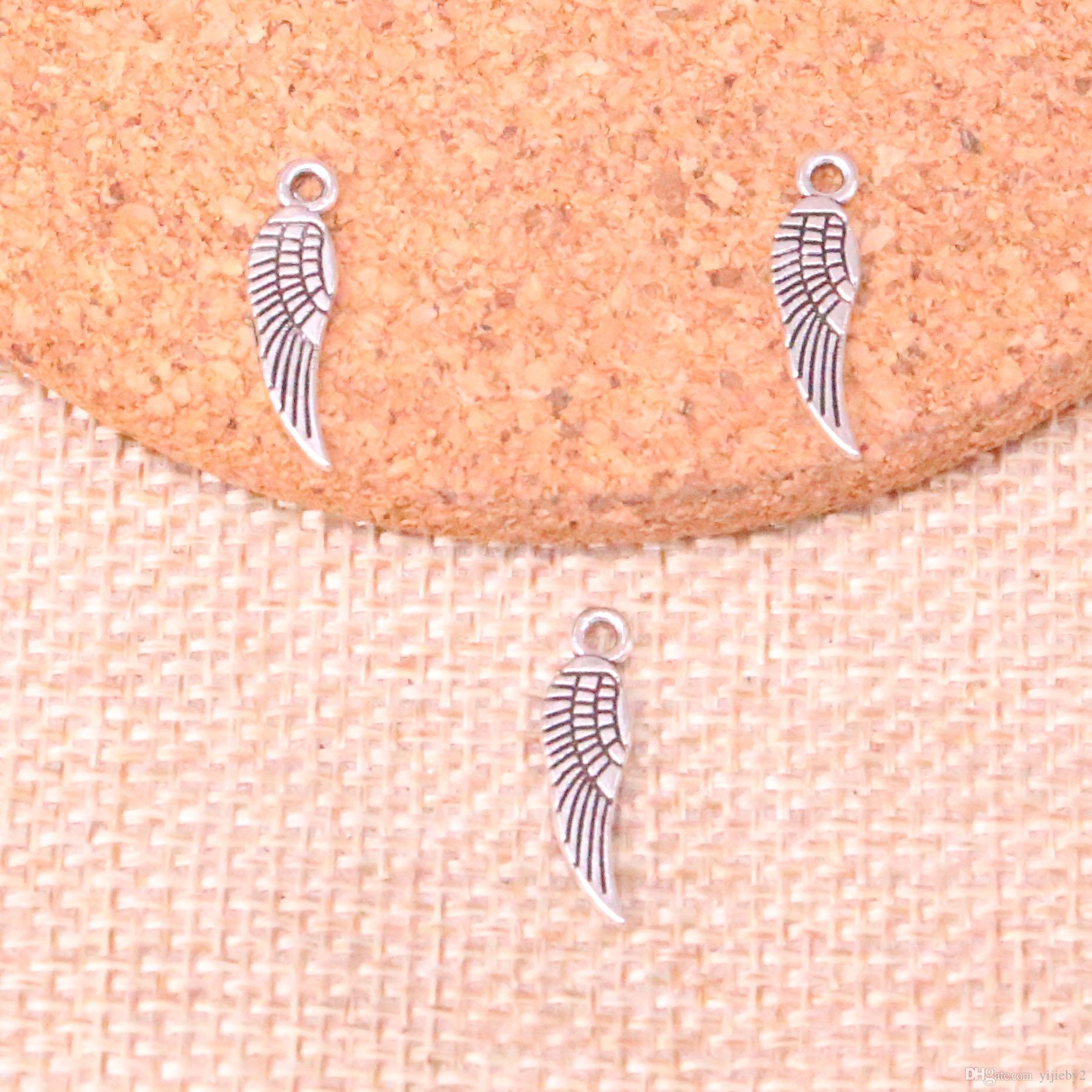 560pcs antique ailes d'ange de ruban de charme pendentif bricolage collier bracelet bracelet conclusions 19mm