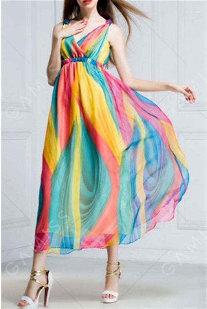 Cuello sin mangas atractivo femenino ocasional vestidos de la manera de las mujeres ocasionales ropa de verano Wommer diseñador de la gasa de los vestidos V profundo
