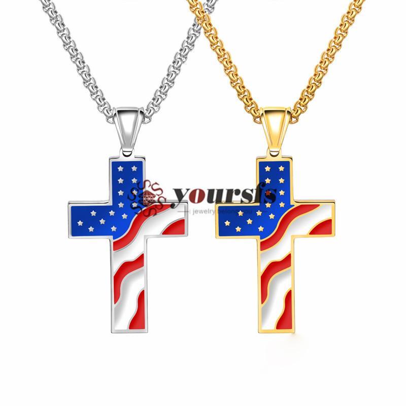 Yoursfs United State of American Flag Ожерелье для мужчин/женщин серебро позолоченный флаг США шаблон Креста ожерелье длинная цепь ожерелье(1 пара)