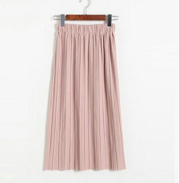b8f6e0029 Summer New Long Elastic Midi Skirt Women Chiffon Pleated Skirt High Waisted  Skinny Female Skirt faldas