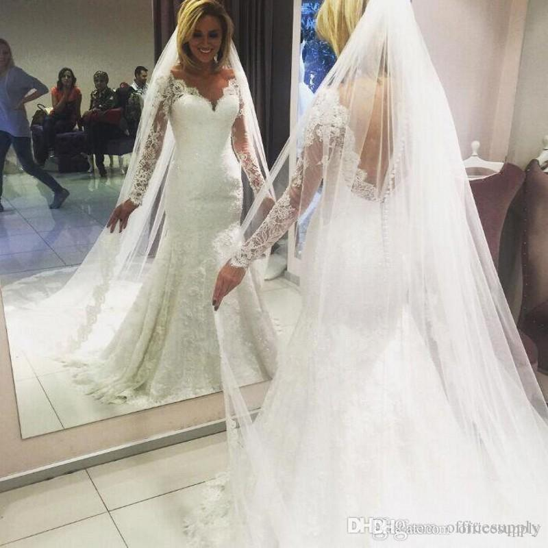 Sexy Plus Size Wedding Dresses 2019 Sheer V-Neck Long Sleeves Tulle Mermaid Court Train Bridal Gowns African Customized Wedding Dress