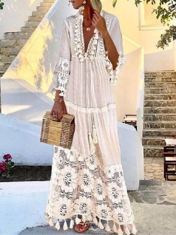 2020 ropa del vestido largo Fondo borlas del cordón superiores sin forro