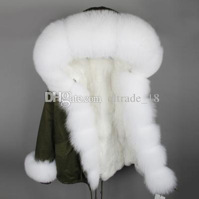 흰색 여우 모피 MAOMAOKONG 브랜드 소녀의 눈 코트 흰색 여우와 토끼 모피 임계 값 트림 토끼 모피 안감 회색 미니 파카 독일 프랑스
