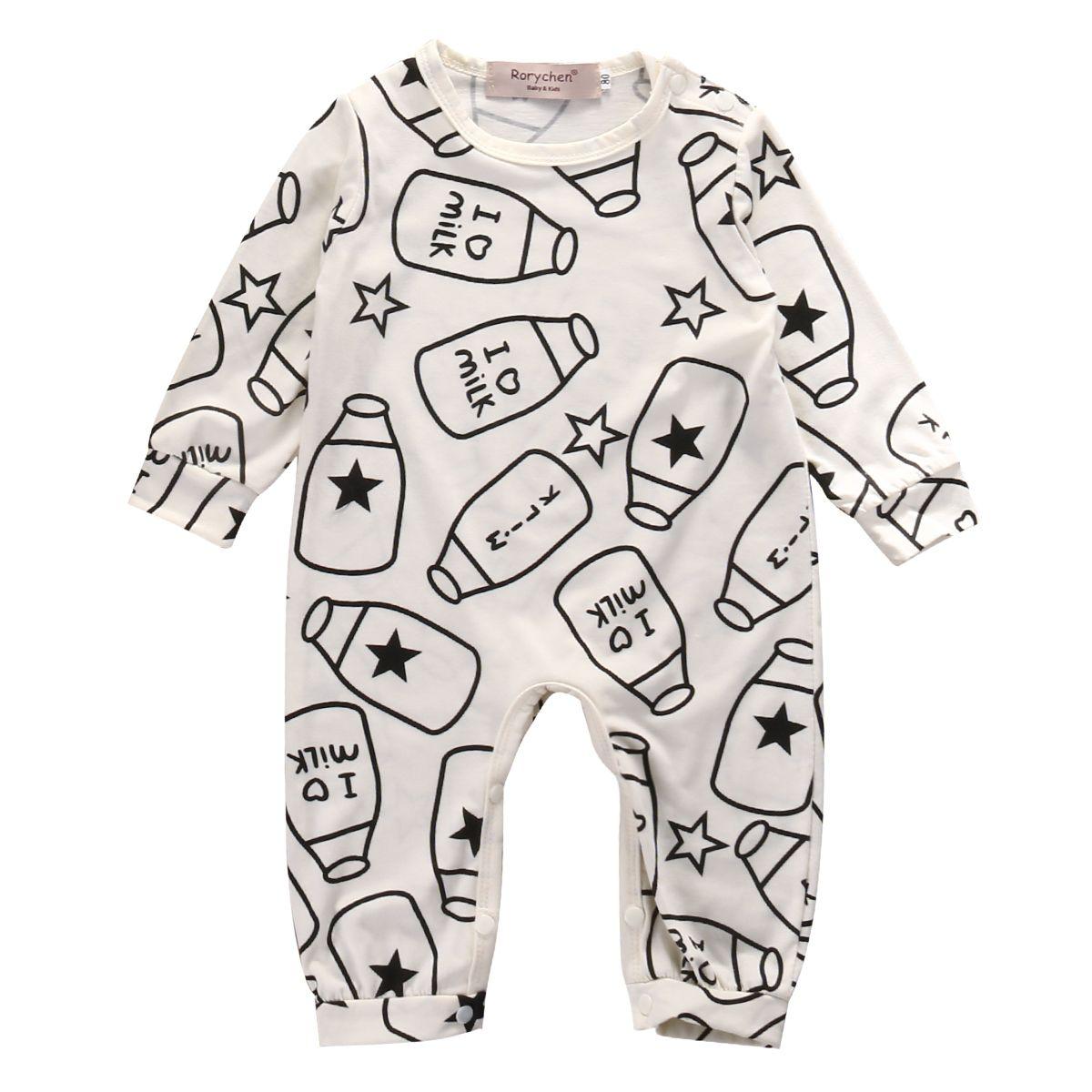 Bebê recém-nascido Roupa Romper Rapazes Meninas Garrafa Jumpsuit Leite bonito posters Roupas macacãozinho